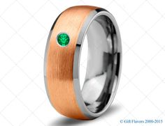 Tungsten Wedding Band,8mm,Mens Wedding Bands,Rose Gold,Green Emerald Band,Mans,Mens,Carbide,Male,Diamond RIng,Men,His,Hers,Set,Size,Him