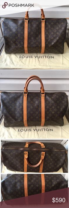 💯Authentic Louis Vuitton Keepall 50 Authentic. Vintage style. Date code: 841 MB, Made in France. Canvas has no tears or stains. Vachetta leather is a beautiful honey patina with some faint water stains, few scratches and minor cracks. Metal fittings have some discoloration. 3 rivets were coming off, glued- sturdy and functional. May show traces of glue but hardly noticeable. Zipper runs smoothly. Zipper pull is intact, minor cracks. No musty odor.  Lining is clean. Comes with dust bag. •NO…