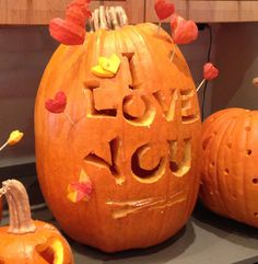 Express your love for the happy couple on a carved pumpkin!  Perfect for DIY fall weddings.