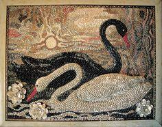 """""""Swans,"""" wall seashell mosaic by Marina Alexandrova."""