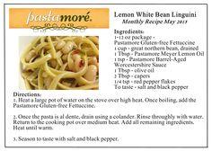 Monthly Recipe Box, Lemon White Bean Linguini uses Pastamore Gluten Free Fettuccine.