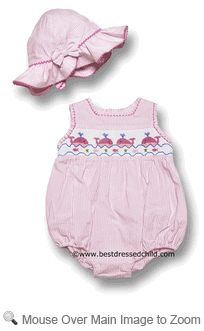 Vive la Fete Infant Baby Girls PINK Seersucker Smocked Preppy Whales Bubble with Hat