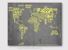 World map typography map canvas or art print choose any colors world map typography map 8x10 print choose your colors typographic atlas art with country names word art shown in grey and yellow gumiabroncs Gallery