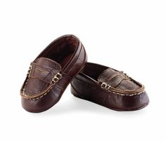 Just like dad's!  Can't get enough of these precious little Leather Loafers - $27.00 : Sweet As Peas, custom painted children's decor and more... including mudpie baby clothing and accessories.