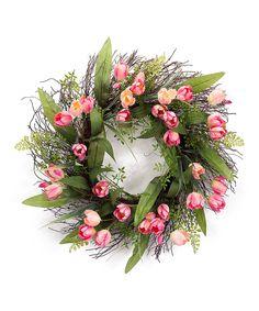 Look at this #zulilyfind! Tulip Wreath by Melrose #zulilyfinds