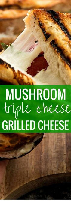 There's really nothing better than a both crunchy and melty Mushroom Triple Cheese Grilled Cheese sandwich for lunch! With such a quick assembly you'll be digging in in no time! | savorynothings.com