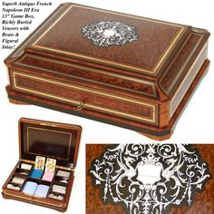 "Antique French Napoleon III 13"" Burled Game Box, Figural Inlay, from antiques-uncommon-treasure on Ruby Lane"