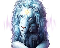 Child of Light - Signed Fine Art Giclee Print - Wall Art - Fantasy Lions Sun and Moon Father and Son - Painting by Jonas Jödicke