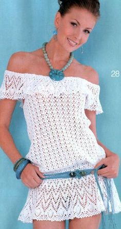 Lovely off the shoulder crochet dress. Has chart to follow... Háčkované Šaty 3bd0a10d5d
