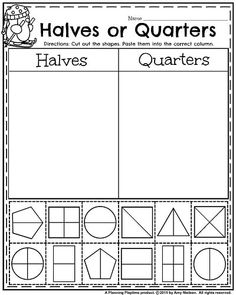 Grade January Worksheets - Shapes in Halves and Quarters 1st Grade Activities, Fraction Activities, First Grade Worksheets, Kindergarten Worksheets, Math Resources, Math Games, Fraction Games, Fraction Wall, Fraction Chart