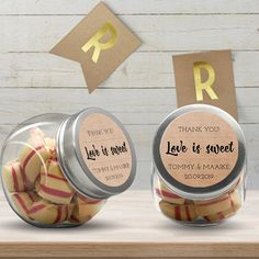 Snoeppot kraft  | Gepersonaliseerde bedankjes voor de bruiloft | Shop trouwbedankjes en overige bruiloftdecoratie hier: www.weddingdeco.nl