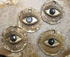 Bronze Protection Eye and Rose Cut Sapphire Coin,