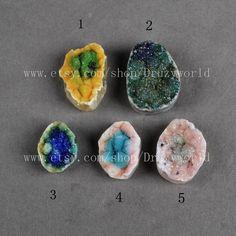 One By One Freeform Rainbow Agate Druzy Geode by Druzyworld
