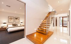 Master bedroom and staircase