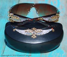 Angel Wing Western Sunglasses With Major Bling For That Rhinestone Cowgirl, Gift for her, Western accessories, Western Fashion by ElusiveCowgirl on Etsy https://www.etsy.com/listing/224822505/angel-wing-western-sunglasses-with-major
