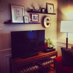 Wall Shelves Above Couch Above Tv Decor, Shelf Above Tv, Tv Wall Decor, Living Room Decor Above Tv, Ledge Shelf, Corner Shelf, Decor Room, Bedroom Decor, My Living Room