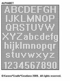 Original filet crochet pattern artwork © Karens Cradle Creations, Only two stitches are used in thiseasy open, lacey filet crochet pattern – the chain and the double crochet stitch. Filet Crochet Alphabet Charts, Crochet Alphabet Letters, Cross Stitch Alphabet Patterns, Cross Stitch Letters, Letter Patterns, Stitch Patterns, Crochet Blanket Patterns, Crochet Edgings, Filet Crochet Name Pattern