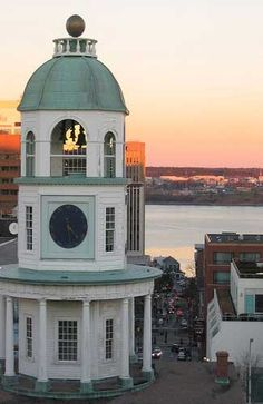 The Town Clock on Citadel Hill, Halifax Harbour in the background ~ Halifax, Nova Scotia, Canada (Photography by Chris Campbell) Canada Travel Nova Scotia, Ottawa, Places To Travel, Places To Visit, Alaska, Atlantic Canada, Road Trip, Thinking Day, Prince Edward Island