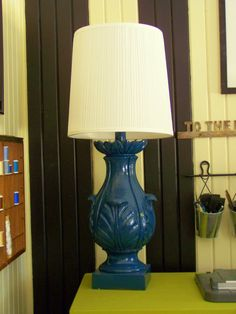 Spiff up an old wood lamp. From older and wisor: How To Create A {Budget} Craft Room