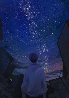 "redlipstickresurrected: aka 제딧 (Koreanisch, Südkorea) - von 365 Days of Daydream, 2017 Digitale Kunst: Gemälde"" - - Anime Night, Sky Anime, Anime Galaxy, Anime Backgrounds Wallpapers, Anime Scenery Wallpaper, Animes Wallpapers, Cute Wallpapers, Sky Aesthetic, Aesthetic Anime"