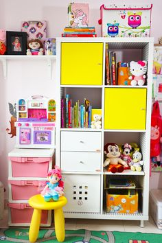 Ikea's Kallax bookshelf turned out to be the most functional storage solution for my daughter's room. I have organized her story books and school books along with soft toys, stationary and what not. Ikea Kallax Bookshelf, Bed Organiser, Plastic Shop, Board For Kids, Kids Room Organization, Daughters Room, Storage Baskets, Storage Solutions, Story Books