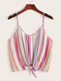 Shop Button & Knot Front Colorful Striped Cami Top at ROMWE, discover more fashion styles online. Romwe, Striped Cami Tops, Plus Size Tank Tops, Crop Tops, Casual Skirt Outfits, Pop Fashion, Fashion Black, Fashion Ideas, Vintage Fashion