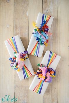 Rainbow Ribbon Gift Wrap - Fun Family Crafts