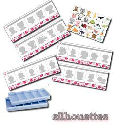 Voici un autre jeu à utiliser avec les boites à compter . Si vous n'en avee pas, les enfants peuvent placer les cartes directement sur les ... Preschool Kindergarten, Teaching Math, Infant Activities, Activities For Kids, Silhouettes, Busy Boxes, File Folder Games, Worksheets For Kids, Primary School