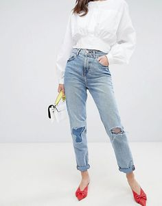cb2c56fda9 ASOS DESIGN Recycled Original Mom Jeans In Divinity Rich Mid Blue Wash With  Rip   Repair