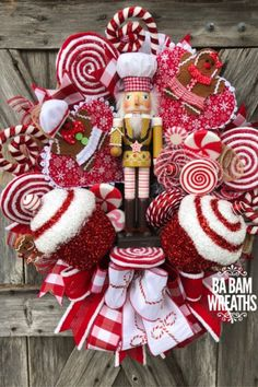 October 2018 Customer Wreaths & Centerpieces Sharing a Christmas nutcracker wreath created by Ba Bam Wreaths. It's for sale in her Etsy shop. Shop Trendy Tree online for Christmas decorations and wreath making supplies. Candy Land Christmas, Christmas Door, Christmas Holidays, Christmas Ornaments, Whimsical Christmas, Christmas 2019, Holiday Wreaths, Holiday Crafts, Holiday Decorations