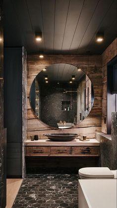 Rustic Home Design, Dream Home Design, Home Interior Design, Cabin Bathrooms, Rustic Bathrooms, Dream Bathrooms, Bathroom Design Luxury, Home Fashion, House Rooms