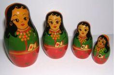 """AJ44. Rare Brest Gypsy Nesting Dolls 4"""" 5n"""