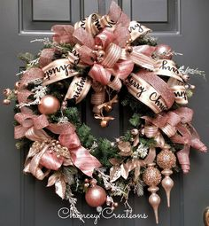 Rose Gold Christmas Wreath, Chancey Creations