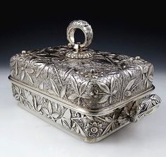 Dominick and Haff aesthetic rectangular tureen with butterflies and flowers Vintage Silver, Antique Silver, Gorham Silver, Silver Furniture, Aesthetic Movement, Silver Prices, Metal Working, Silver Jewelry, Pottery