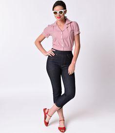 1950s Style Indigo High Waist Stretch Cinch Denim Capri Pants $92.00 AT vintagedancer.com