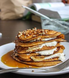 It's called Surprise them with Breakfast in Bed:: Sweet Potato Pancakes Stuffed with Ricotta Cheese: Fluffy, decadent and DIVINE! These sweet potato pancakes, stuffed with ricotta cheese and dripping with maple syrup, are just too good to be true.
