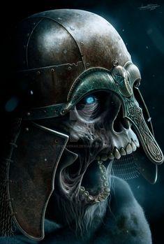 Undead by JFoliveras skeleton zombie dead ghoul fighter soldier knight Norse… Viking Skull, Arte Viking, Viking Art, Dark Fantasy Art, Fantasy Artwork, Dark Art, Vikings, Totenkopf Tattoos, Theme Tattoo