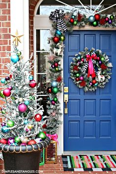 IT'S A COLORFUL LIFE 2019 CHRISTMAS HOME TOUR: PART 2- PORCH, ENTRY, AND DINING ROOM - Dimples and Tangles Christmas Time Is Here, Christmas Love, Christmas 2019, Christmas Holidays, Christmas Wreaths, Christmas Crafts, Christmas Ideas, Preppy Christmas, Christmas Manger