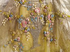 Boué Soeurs close up of beaded & ribbon work embroidery