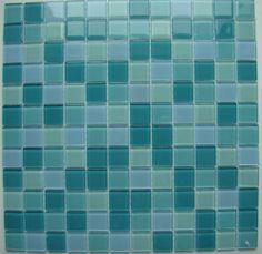 """Agave"" Mosaic Glass Tile Green Pine Blue White Backsplash Bathroom Wall Tiles | eBay"