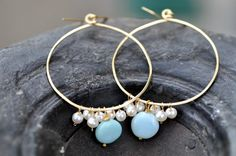 """Large Gold Hoops with blue Peruvian Opal and White Freshwater Pearl -1.5"""" Hoop with Peruvian Opal boho style earring by JewelrybyXinyiMartin on Etsy"""