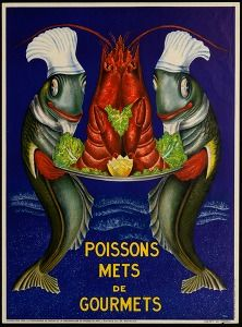 Poissons mets de gourmets (1948, Commercial & advertising posters Belgium) #Booktower