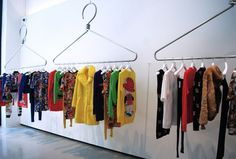 Jeremy Scott's new Moschino store has recently opened its doors in Soho, New York City, with a wealth of oversized purses, leather jackets and high . Boutique Decor, Boutique Interior, Boutique Design, Showroom Design, Shop Interior Design, Fashion Store Display, Interiores Art Deco, Clothing Store Design, Clothing Racks
