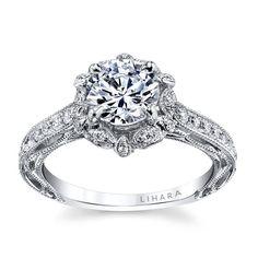 Lihara and Co. 18K White Gold 0.31ct TDW Semi-Mount Diamond Engagement Ring