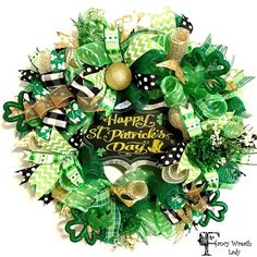 Happy St. Patrick's Day Mesh Front Door Wreath by FancyWreathLady #StPatricksday