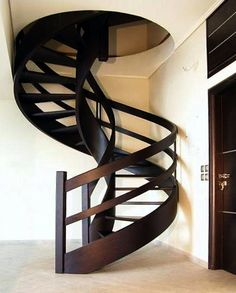 metal barn homes round wooden staircase Home Stairs Design, Stair Railing Design, Interior Stairs, House Design, Staircase Handrail, Wooden Staircases, Stairways, Round Stairs, Building Stairs