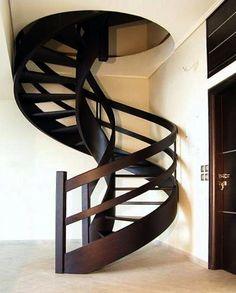 round wooden staircase
