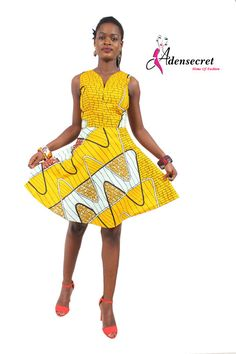Adesola African Print Ankara Dress --Fun to put fabric on an angle