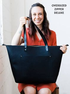 Leather Tote w/ Zipper HUGE SALE Leather Bag Handmade in