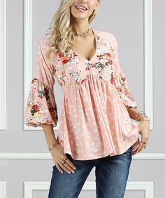Look what I found on #zulily! Dailia Floral & Dot Bell-Sleeve Top - Plus Too #zulilyfinds